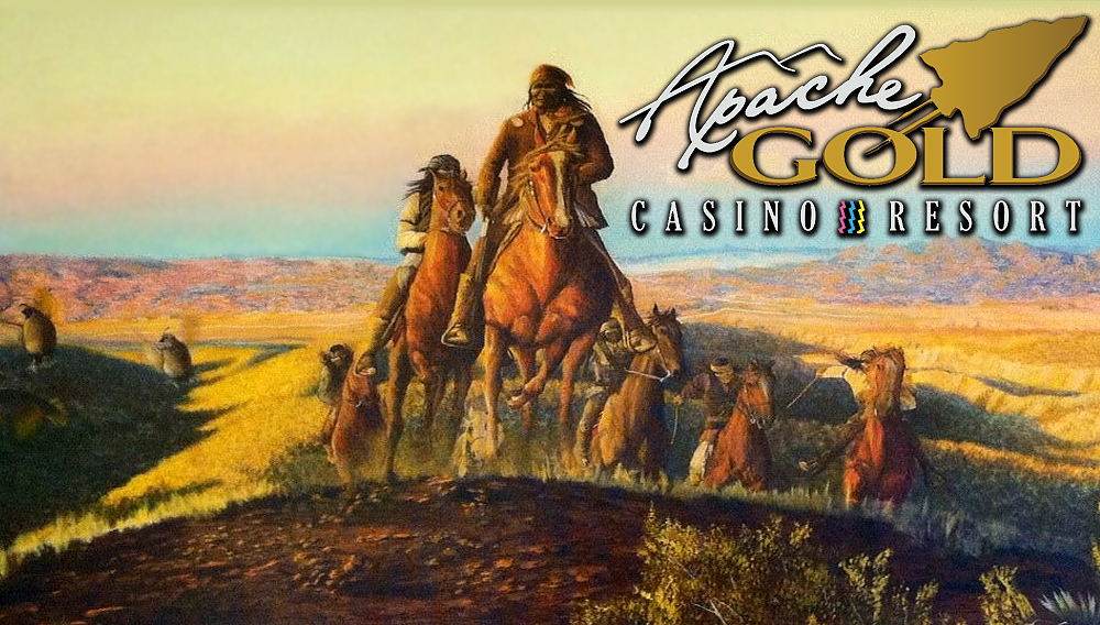 Apache Nation picture of Geronimo on horseback and the Apache Gold Casino logo.