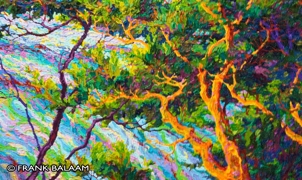 Painting of trees by Frank Balaam, local Gila County Arizona artist