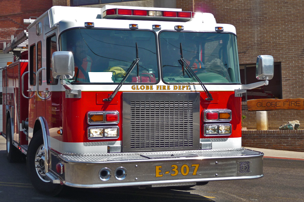 Picture of the Globe Fire Department truck, for emergencies.